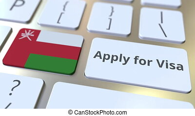 APPLY FOR VISA text and flag of Oman on the buttons on the...