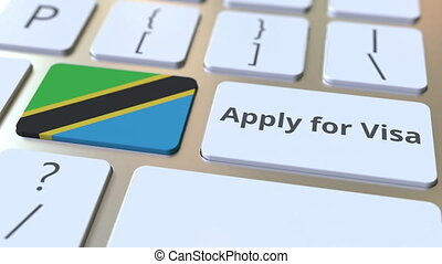 APPLY FOR VISA text and flag of Tanzania on the buttons on...