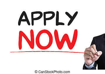 Apply Now Businessman hand writing with black marker on white background