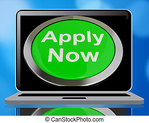 Apply Now Button In Green For Work 3d Rendering