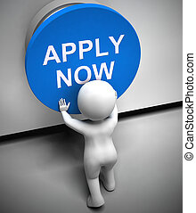 Apply now concept icon shows recruitment online for a job vacancy - 3d illustration