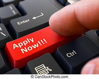 Apply Now Concept. Person Click Keyboard Button.