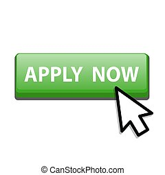 apply now green button with arrow cusor, stock vector illustration