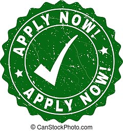 Apply Now! Grunge Stamp with Tick