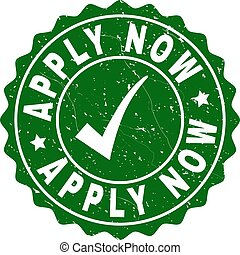 Apply Now Grunge Stamp with Tick