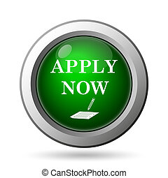 Apply now icon. Internet button on white background