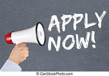 Apply now jobs, job working recruitment employees business concept hand with megaphone