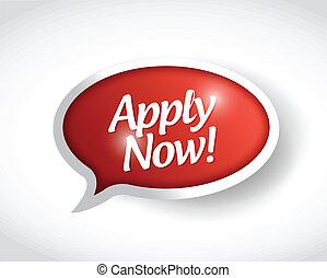 apply now message bubble illustration design