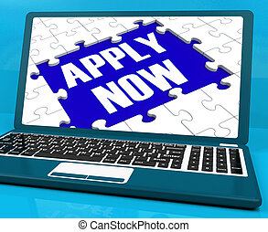 Apply Now On Laptop Showing Online Applications