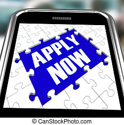 Apply Now On Smartphone Shows Employment Recruitment