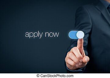 Apply now - human resources concept. Businessman switch-on...