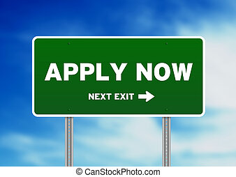 Apply Now Road Sign