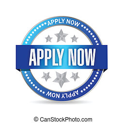 apply now seal illustration design over a white background