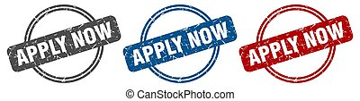 apply now stamp. apply now sign. apply now label set