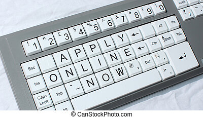 """computer keyboard with the conceptual wording """"apply online now"""""""
