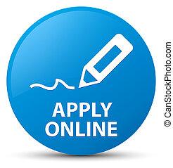 Apply online (edit pen icon) cyan blue round button