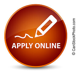 Apply online (edit pen icon) elegant brown round button