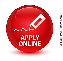 Apply online (edit pen icon) glassy red round button