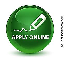 Apply online (edit pen icon) glassy soft green round button