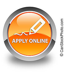 Apply online (edit pen icon) glossy orange round button