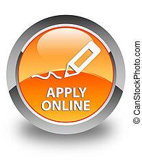 Apply online (edit pen icon) glossy orange round button