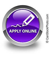Apply online (edit pen icon) glossy purple round button