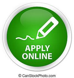 Apply online (edit pen icon) premium green round button