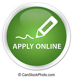 Apply online (edit pen icon) premium soft green round button