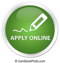 Apply online (edit pen icon) premium soft green round button