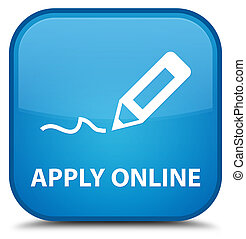 Apply online (edit pen icon) special cyan blue square button