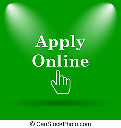 Apply online icon. Internet button on green background.