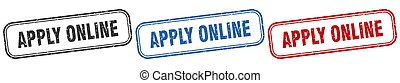 apply online square isolated sign set. apply online stamp