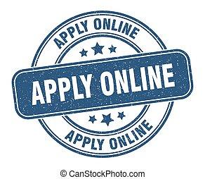 apply online stamp. apply online label. round grunge sign