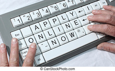 Apply online - computer keyboard with the conceptual wording...