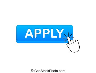 Apply with cursor button. Internet icon. Pointer click icon. Vector stock illustration.