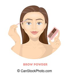 Applying brow powder.