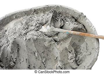 wet cement  - Applying construction trowel in wet cement