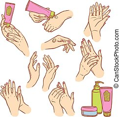 Applying cream hands flat icons composition - Daily hand...
