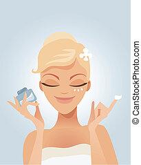 Applying moisturizer
