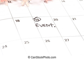 Appointment for event, concept image of a calendar