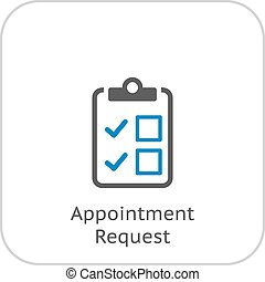 Appointment Request and Medical Services Icon. Flat Design....