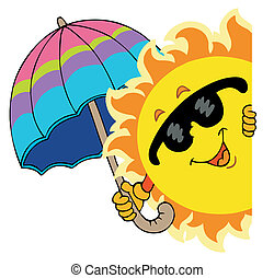 appostando, sole, con, ombrello