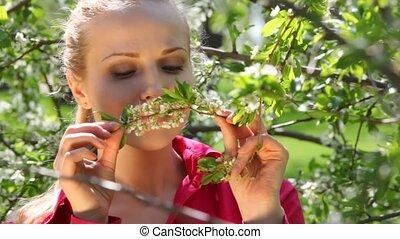 apprécie, femme, printemps