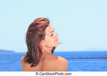 apprécier, beau, plage, femme