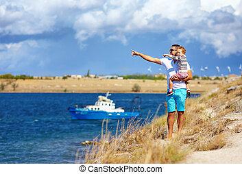 apprécier, bord mer, voyage, famille