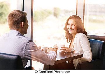 apprécier, café, café, couple