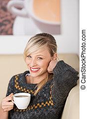 apprécier, café, femme, café, sourire