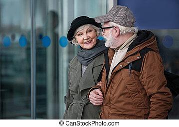 apprécier, communication, charmer, personne agee, vieilli, dame, homme