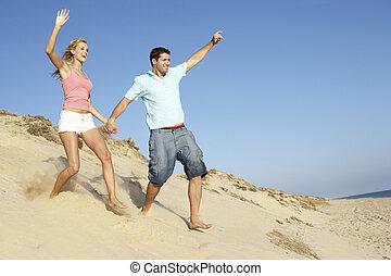 apprécier, couple, dune, bas, courant, vacances, plage