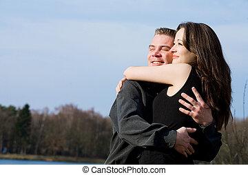 apprécier, couple, sunlinght